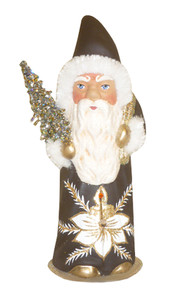 17171S Brown Santa with Tree Schaller Paper Mache Candy Container