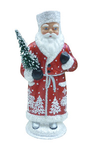 171825 Red Russian Santa with Tree Schaller Paper Mache Candy Container