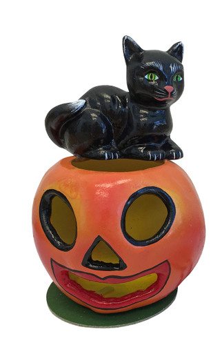 402-20 Halloween Black Cat on Pumpkin Schaller Paper Mache Candy Container