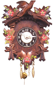 125-6 Key Wind Mechanical Carved Flowers Pendulum Miniature German Clock