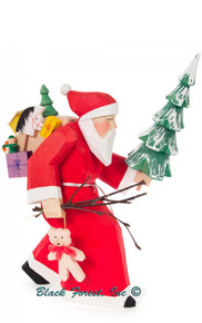 225-222-3 Carved Santa with Tree and Gifts from Germany