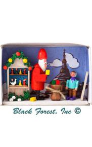 028-103 Santa at Christmas Market Matchbox from Germany