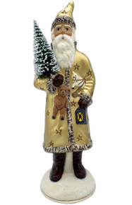 19322 Santa with Gold Coat Schaller Paper Mache Candy Container