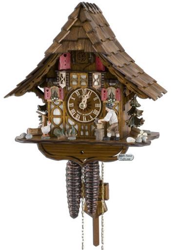 1695-9 Wood Chopper Chalet 1 Day Cuckoo Clock