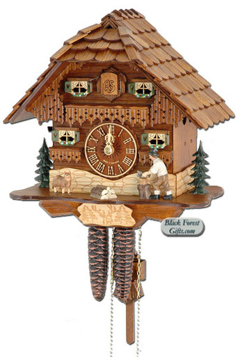 75-9 Wood Chopper Chalet 1 Day Cuckoo Clock