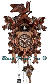 Q90-10 Anton Schneider Quartz Battery Painted Carved Cuckoo Clock