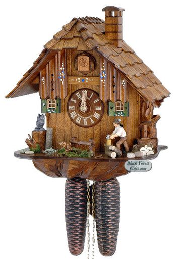8T1105-10 Anton Schneider 8 Day Wood Chopper Cuckoo Clock