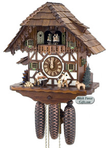 8TMT5483-9 Anton Schneider 8 Day Wood Chopper and Sawer Cuckoo Clock