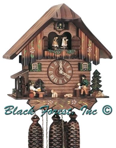 8TMT5407-10 Anton Schneider 8 Day Beer Drinker and Wood Choppper Cuckoo Clock