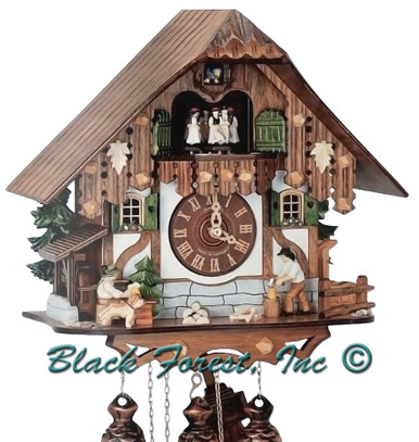 8TMT6407-10 Anton Schneider 8 Day Beer Drinker and Wood Chopper Cuckoo Clock