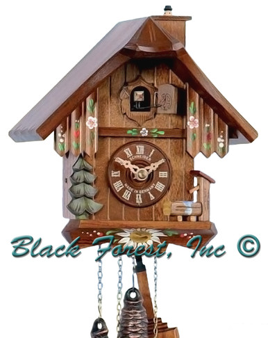 7063-10 Chalet Chimney Sweep 1 Day Cuckoo Clock