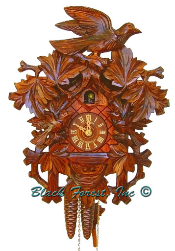 872-17 Carved 3 Birds 1 Day Cuckoo Clock