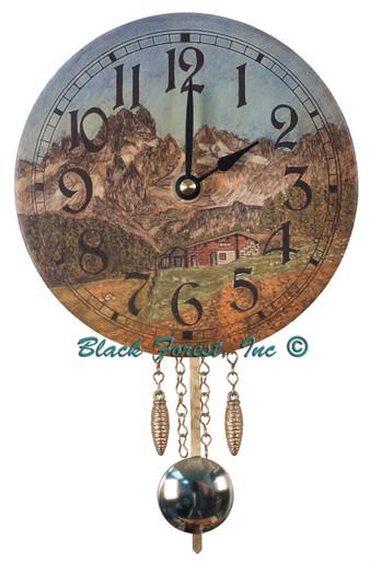 313PQ Quartz Shield Miniature clock with German Farmhouse picture