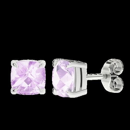 Pink Amethyst Silver Checkerboard Stud Earrings