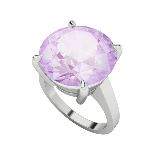 Round Brilliant Cut Pink Amethyst Sterling Silver Cocktail Ring