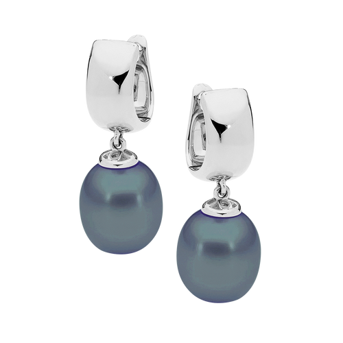 9ct White Gold Black Drop Pearl Earrings