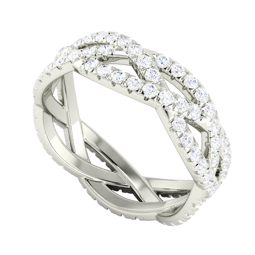 Diamond Woven Ring (Full) 9 Carat White Gold