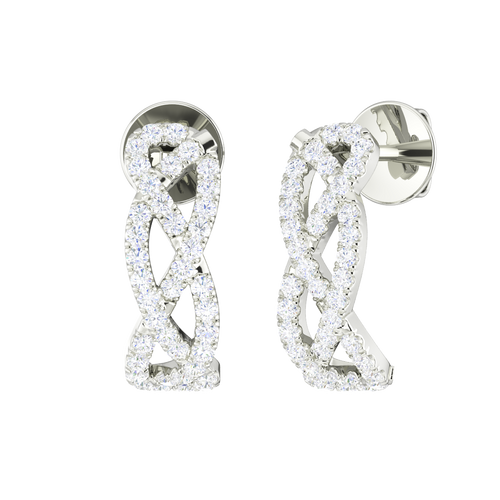Diamond Woven Earrings 9 Carat White Gold