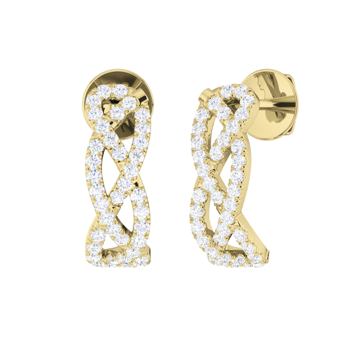Diamond Woven Earrings 9 Carat Yellow Gold