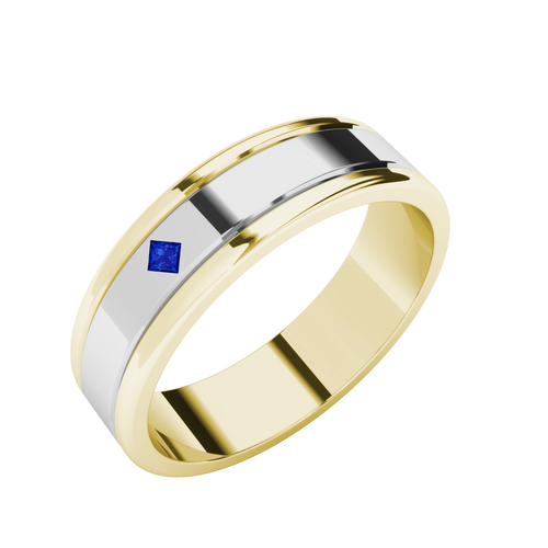Sapphire Two-Tone Wedding Ring - 9ct White Gold with Yellow Gold (3 of 4)
