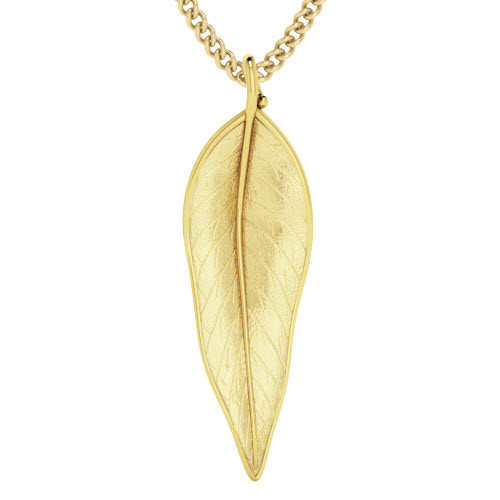 Medium-sized Terre-Et-Mer Leaf Necklace Yellow Goldplate