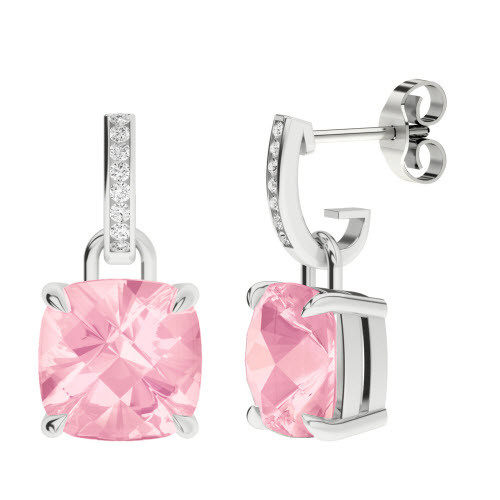 Rose Quartz 9ct White Gold and Diamond Drop Earrings