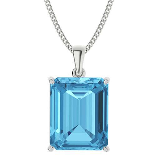 Emerald Cut Blue Topaz Sterling Silver Necklace