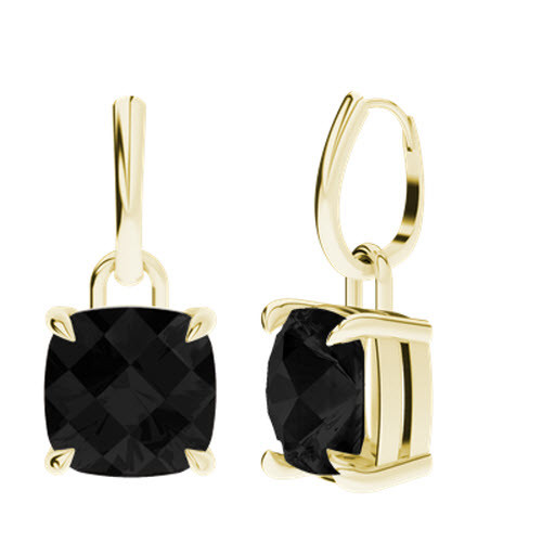Onyx Yellow Gold Checkerboard Drop Earrings