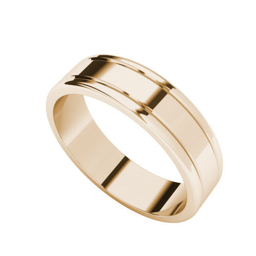 Grooved Wedding Ring - 9ct Rose Gold