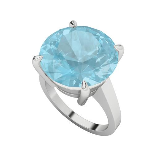Round Brilliant Cut Blue Topaz Silver Cocktail Ring