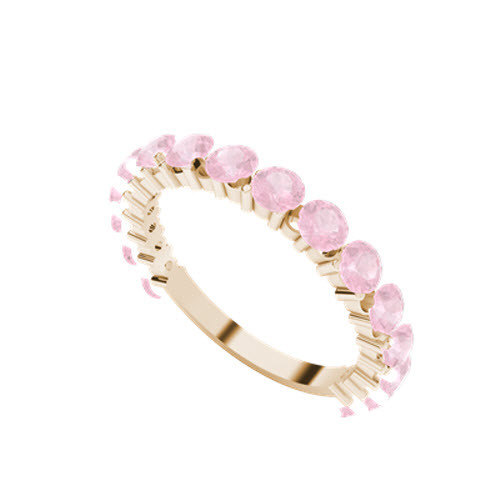 Brilliant Cut Pink Sapphire 9ct Rose Gold Wedding Ring
