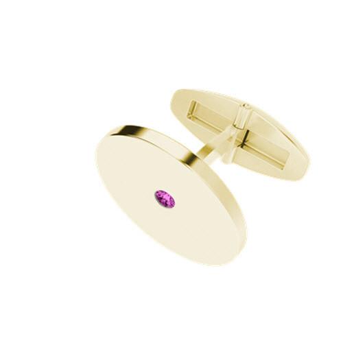 Round 9ct Yellow Gold Cufflinks with Pink Tourmaline Birthstone