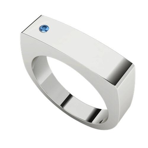 Signet White Gold Ring Rectangular - Blue Topaz