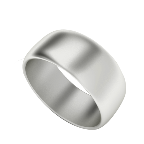 Men's Wedding Ring with Round Profile 9ct White Gold