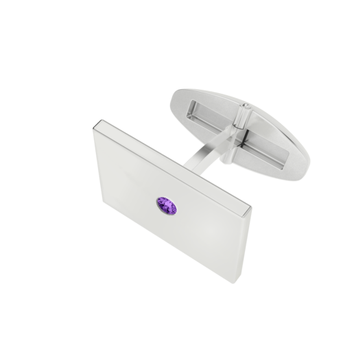 Men's Rectangular Cufflinks with Amethyst Birthstone