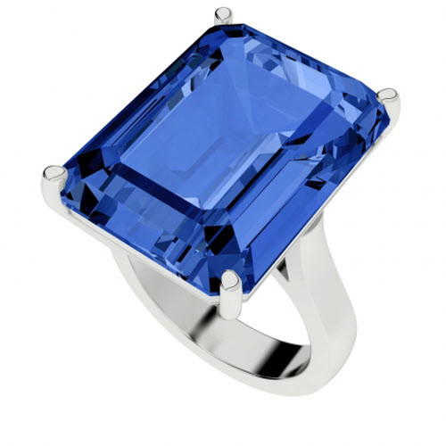 Blue Sapphire Sterling Silver Cocktail Ring