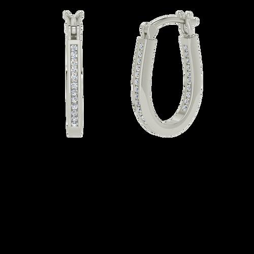 White gold and diamond narrow hoops