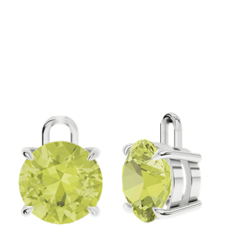 Lemon Quartz Sterling Silver Round Brilliant Earrings - Drops Only