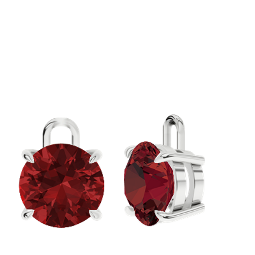 Ruby (cr.) Sterling Silver Round Brilliant Earrings - Drops Only