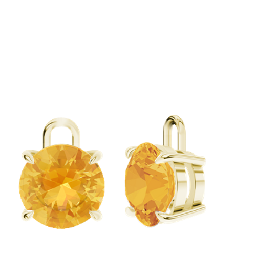 Citrine 9ct Yellow Gold Round Brilliant Earrings - Drops Only