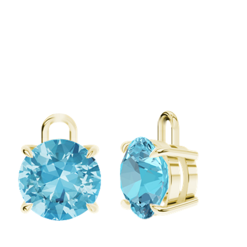 Blue Topaz 9ct Yellow Gold Round Brilliant Earrings - Drops Only