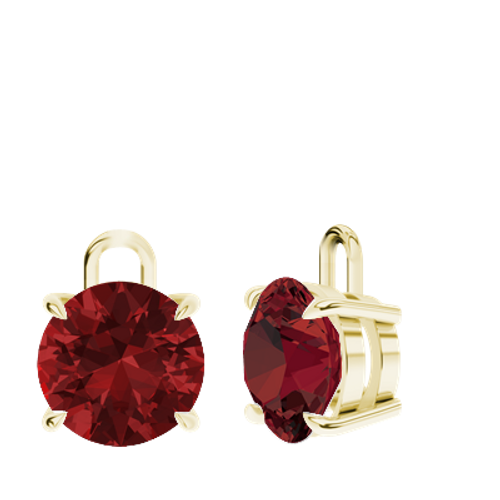 Ruby (cr.) 9ct Yellow Gold Round Brilliant Earrings - Drops Only