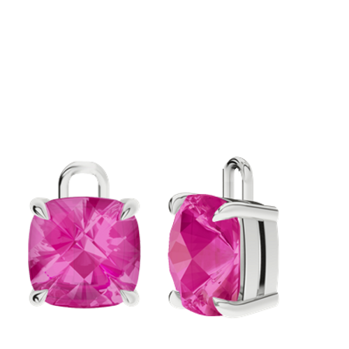 Pink Sapphire Sterling Silver Checkerboard Earrings - Drops Only