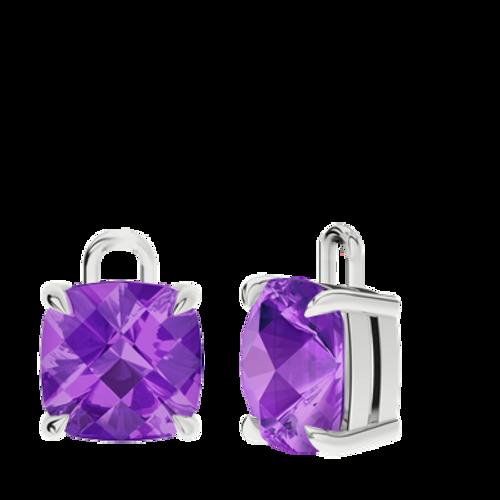 Amethyst Sterling Silver Checkerboard Earrings - Drops Only