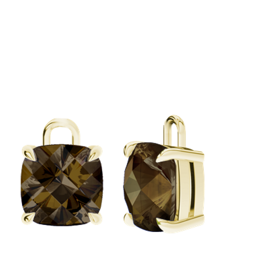 Smoky Quartz 9ct Yellow Gold Checkerboard Earrings - Drops Only