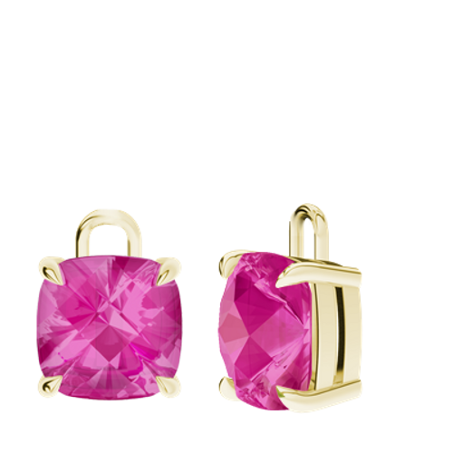 Pink Sapphire 9ct Yellow Gold Checkerboard Earrings - Drops Only