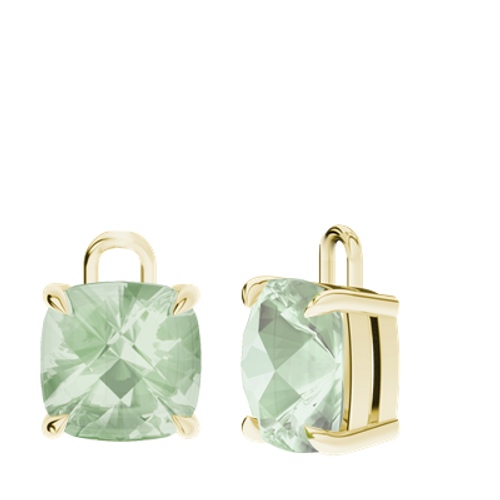 Green Amethyst 9ct Yellow Gold Checkerboard Earrings - Drops Only
