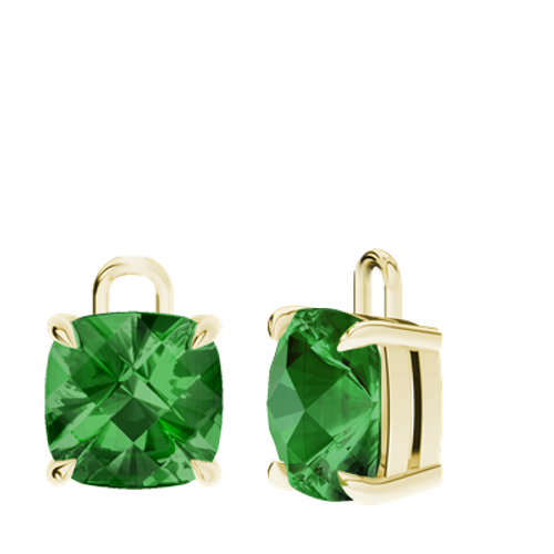 Emerald 9ct Yellow Gold Checkerboard Earrings - Drops Only