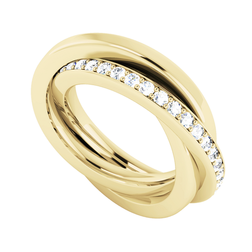 Diamond Russian Wedding Ring - 9ct Yellow Gold
