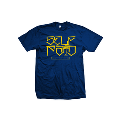 Navy blue T-shirt yellow ink